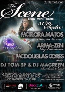 """Flyer da festa """"The Scene"""", com Arma-zen, Douglas Cores e Flora Mattos, Cosmopolita Club 23/10"""